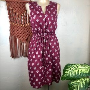 Old Navy Button Front Floral Drawstring Tank Dress